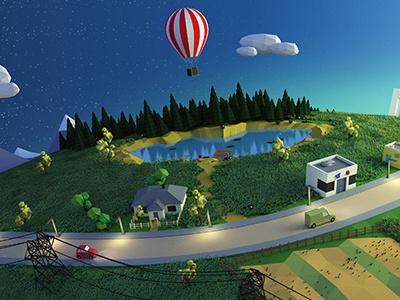 Tiny world scene made with Blender 3D blender 3d