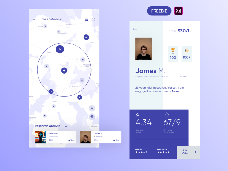 Find Professionals Around - Freebie iphone mobile find professional ui map maps product design ios interface uidesign freebie free xd mockup find people map dashboad uiux app design app