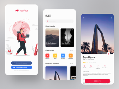 Headout App Redesign - Travel App calender booking vector illustration animation 2d android red traveling design userinterface portfolio webdesign animation ux ui travel agency uiux app design app travel app travel