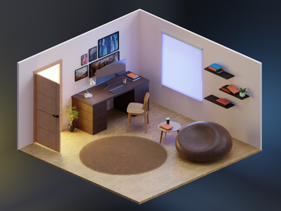 3D Isometric Workspace Concept cycles illusration blendercycles idea concept workspace design blender3d blender isometric space room