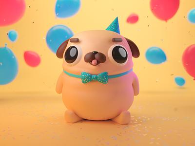 Birthday Pug pug animal dog mograph motion graphics character 3d c4d eyedesyn cinema 4d
