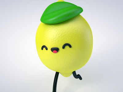 Lemon Run fruit lemon cg cute chibi run eyedesyn c4d 3d character cinema 4d
