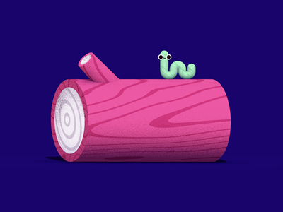 Wood Worm sketch and toon 2d eyedesyn c4d cinema 4d 3d log worm wood