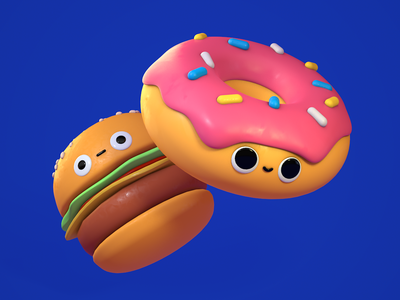 Burger Donut cheese burger cheeseburger food hamburger donuts donut 3d motion graphics character mograph c4d eyedesyn cinema 4d