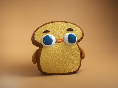 Toast Boy character animation character design toast animation gif 3d motion graphics mograph c4d eyedesyn cinema 4d