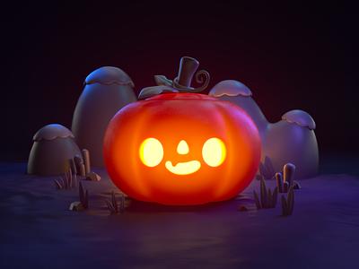 Happy Pumpkin 3d halloween pumpkin character mograph eyedesyn c4d cinema 4d
