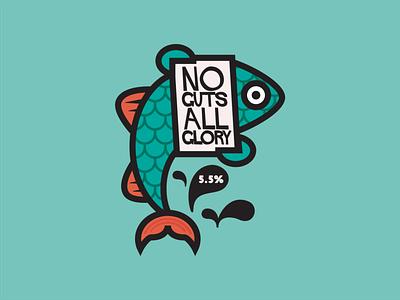 NO GUTS ALL GLORY alcohol branding characterdesign branding vector logo design cartoon illustration graphic beer label beer