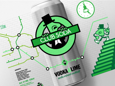 CLUB SODA 'UNDERGROUND' CANNED COCKTAIL CONCEPT art typography characterdesign branding vector logo design cartoon illustration graphic
