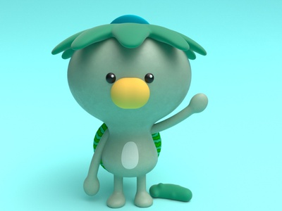 Kappa yokai kappa practice cinema4d 3d modeling cute animation motion design cartoon illustration