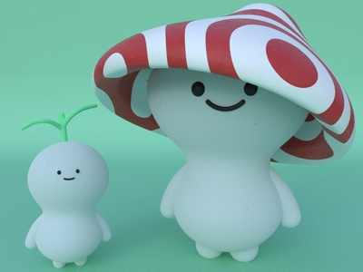 Kodama yokai practice cinema4d 3d modeling cute animation motion design cartoon illustration