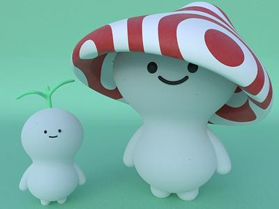 Kodama yokai practice cinema4d 3d modeling cute animation motion design cartoon illustration