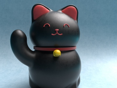 Maneki-Neko yokai practice cinema4d 3d modeling cute animation motion design cartoon illustration
