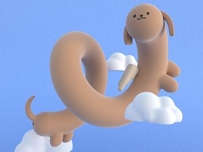 Hainu practice yokai cinema4d 3d modeling cute animation motion design cartoon illustration