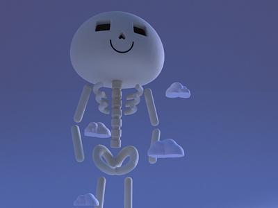 Gashadokuro yokai practice cinema4d 3d modeling cute animation motion design cartoon illustration