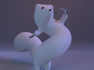 Kamaitachi yokai practice cinema4d 3d modeling cute animation motion design cartoon illustration