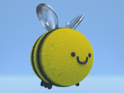 Hayley, the cute bee gal bee practice cinema4d 3d modeling cute animation motion design cartoon illustration