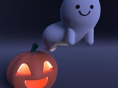 Taylor, the cute ghost gal ghost yokai practice cinema4d 3d modeling cute animation motion design cartoon illustration