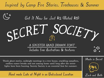 Secret Society font + Bonus esoteric occult spooky hand drawn font