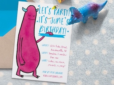Happy Birthday Invitation dinosaur pink illustrated illustration birthday monster