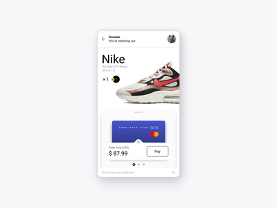 Check out ecommerce air max profile nike blue figma subtle payment pay minimalism white phone product design mobile design product sneakers card credit checkout