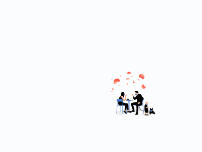 Pandemic with family table dog woman chairs minimalism illustration covid19 corana virus pandemic family