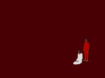 Us minimalism woman vector illustration film untethered red movie us