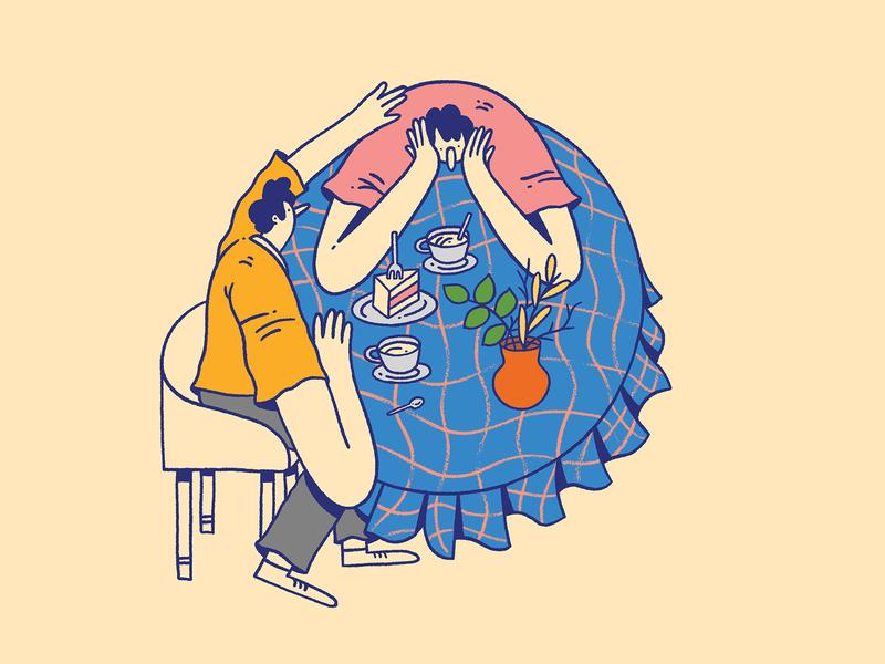 How to Listen - Sorria Magazine - 1/2 support help digital illustration editorial design cake coffee friends article outburst emotional magazine editorial illustration editorial art editorial