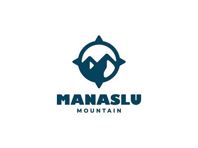 Compass + Mountain direction hiking campers everest manaslu design logo camping camp compass mountain outdoor