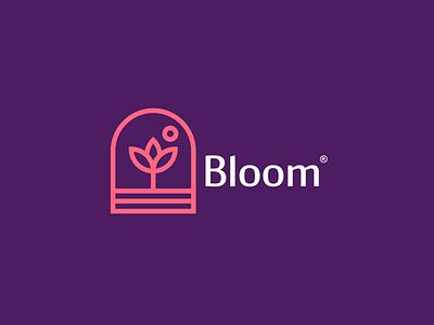 Flower blooming elegant grow feminine pink bloom design logo rose flower