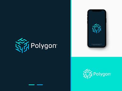 Polygon biotech connection startup modern elegant design logo technology tech polygon