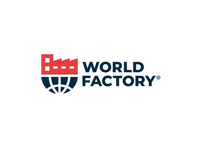 Factory + Globe modern elegant font simple bold elegant design logo company building factory world globe