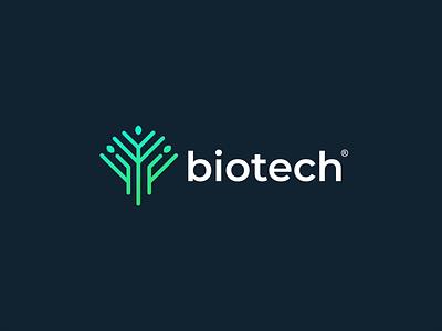 Tree + Tech lab pharmacy biology laboratory chemistry molecule medicine medical science biotech design logo modern elegant technology tech