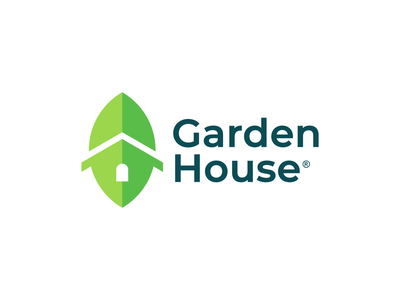 Leaf + House fresh farm agriculture natural organic elegant design logo green home house landscape garden nature leaf