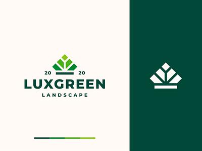 Leaf + Crown design logo queen field decoration garden jewelry luxury fancy king green landscape elegant crown nature leaf