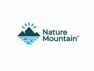 Mountain elegant modern plant ecology bio natural green landscape nature waterfall leaf design logo field mountain