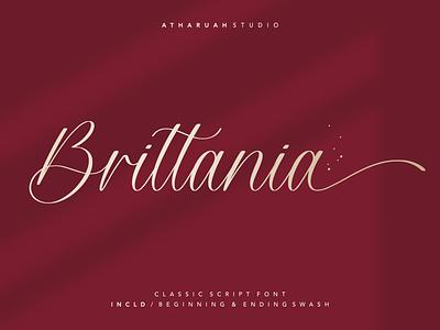 Brittania typography stylish classic boutique wedding handwritten lettering handwriting swash stylistic fancy branding design feminine fashion luxury elegant script font script font