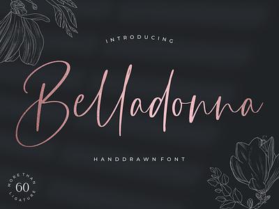 Belladonna sweet romantic classic flawless organic wedding branding illustration modern feminine fashion luxury logo design elegant handwritten handwritting script lettering font