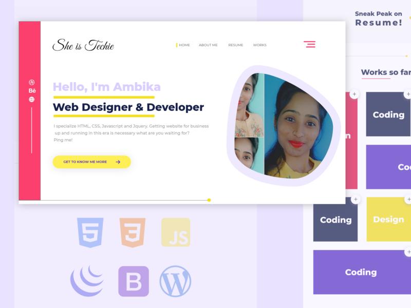 Personal Portfolio flat ui design dailyui dailydesignchallenge webdevelopers webdevelopment web design webdesign portfolio