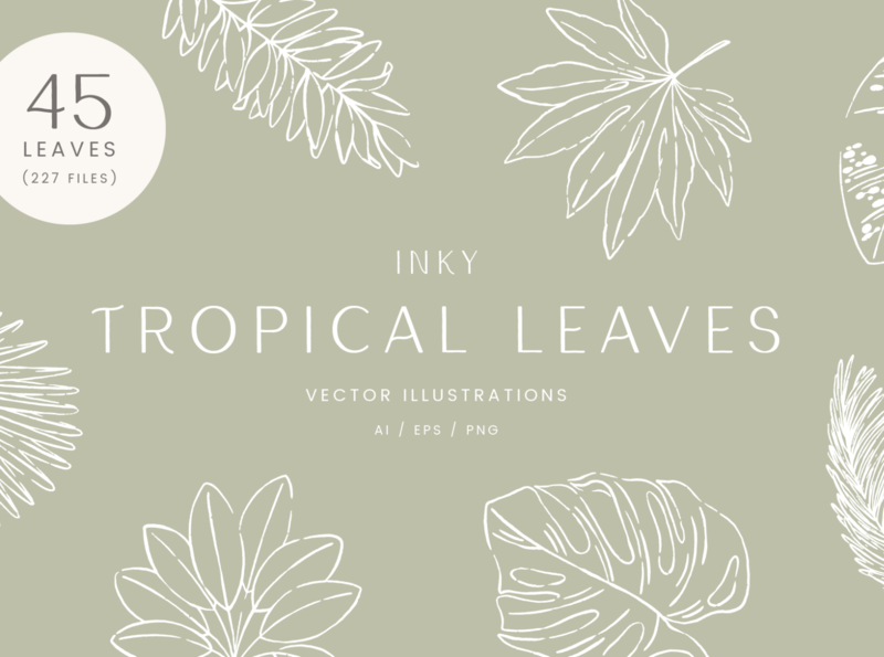 Inky Tropical Leaves  Vector Illustrations leaves plants nature illustration drawing graphicdesign design vector creative market