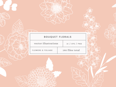 Bouquet Florals Vector Illustrations