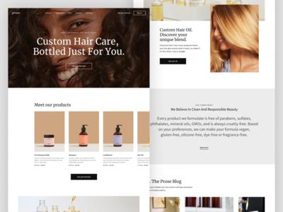 Custom Hair Care. Website concept