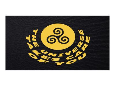 Universal Karma skew universe energy karmic stars black yellow branding illustration symbol typography type karma