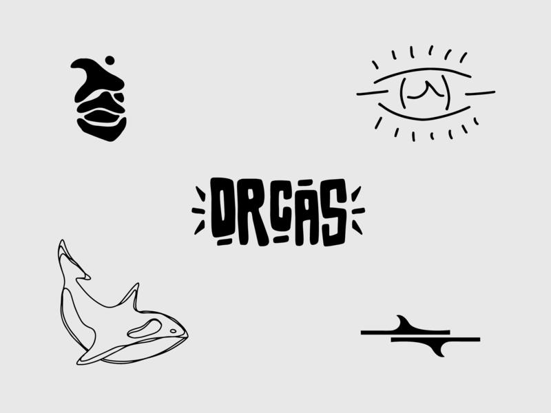Orcas Branding brand agency black and white hand lettering logo fin eye logo wave orcas killer whale typography vector art logo illustration vector graphic design brand identity branding