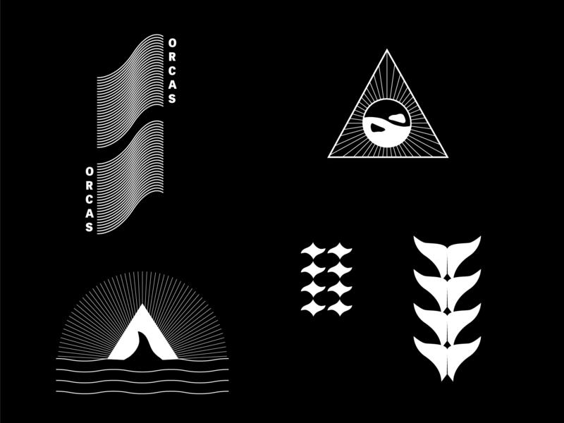Orcas Branding 2 water fin killer whale whale tail minimalism yinyang vector art design logo vector graphic design brand identity branding illustration