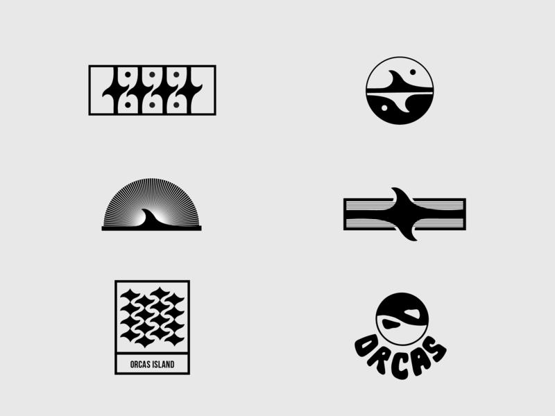 Orcas Branding 3 typography vector art design logo vector graphic design brand identity illustration brand agency branding minimalism line art logo sunset tail whale fin yin yang