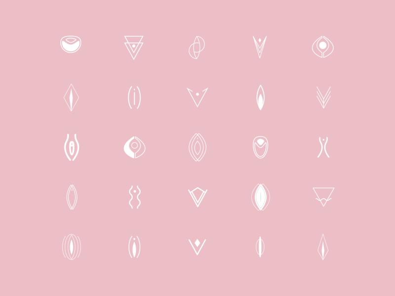 Pussy Perfect – Icon Exploration pussy vagina women women empowerment female femme minimalism icon design iconography icon set vector brand identity illustration branding