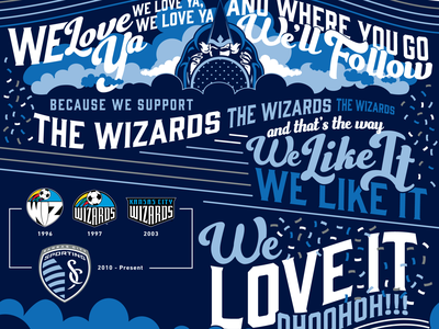 We Love Ya Chant Artwork skc wiz wizards sporting mls kc sports sporting kc lettering kansas city soccer illustration