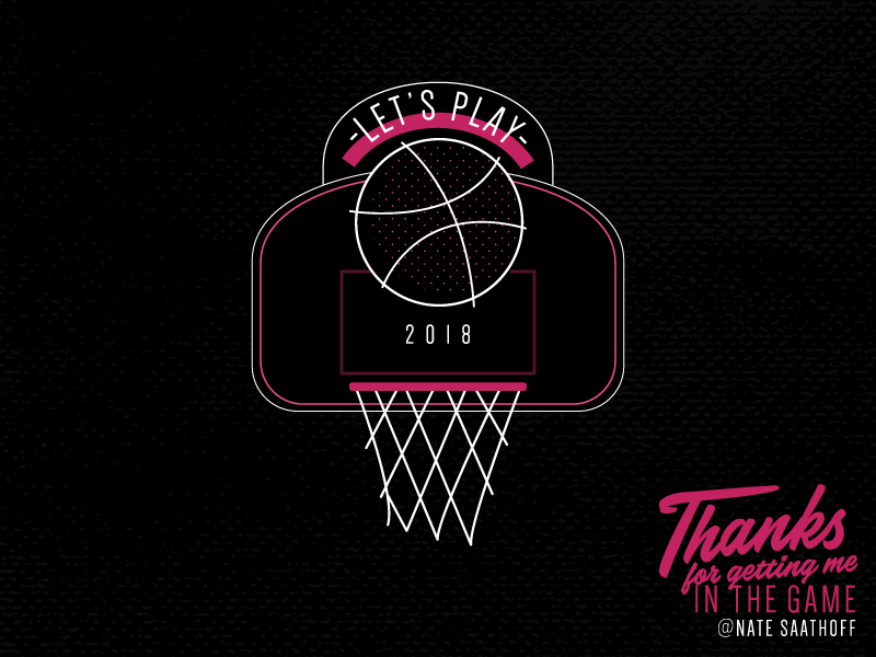 Let's Play illustration debute sports welcome game score pink thanks basketball play dribble hello