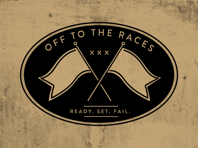 Ready Set Fail sarcasm fast racecar patch gold sticker race car xxx fail ready flag race