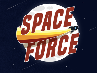 Space Force illustration galaxy moon pew space